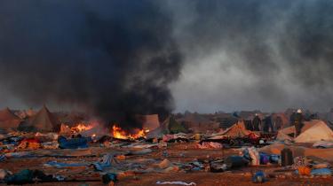 En lejr i Vestsahara, efter marokkanske tropper har nedlagt den. Området har været besat af Marokko årevis.