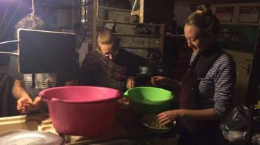 Elvira Wepfner fra Schweitz og Rose Shelmerdine fra England sorterer og renser morbær, mens de diskuterer, om der skal koges syltetøj eller laves grød af dem.