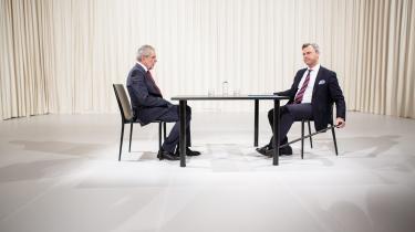 Norbert Hofer (til højre) Alexander Van der Bellen kæmper – igen – imod hinanden i det østrigske præsidentvalg i en valgkamp, der synes uendelig. Foto: Lissi Niesner/Scanpix
