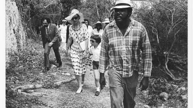 Kongefamilien besøger St. John i det tidligere dansk Vestindien i 1976.