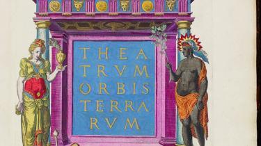 Titelblad til et verdensatlas fra 1570. I den tilhørenden tekst prises Europa ifølge Steffen Heiberg for sit milde klima, sin frugtbarhed, sine prægtige byer og landsbyer, for indbyggernes dygtighed osv.