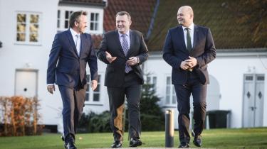 De tre partiledere præsteterede søndagdet nye regeringsgrundlag på Marienborg. Næsten sigende brugte Anders Samuelsen meget af sin tid på pressemødet på at tale om borgerlige-liberale bud på fremtiden