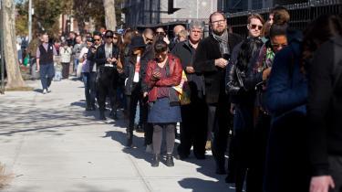 Lang kø til valgsted i USA – flere steder er der sidenhen blevet talt om.