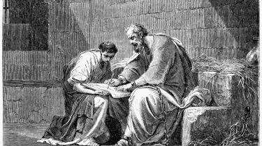 Paulus nedskriver sine teologiske overvejelser under fangenskab i i Rom år 55.