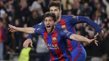 Barcelonas Sergi Roberto triumferer efter at have scoret sit holds sjette mål i opgøret mod Paris Saint-Germain på Camp Nou den 8. marts.