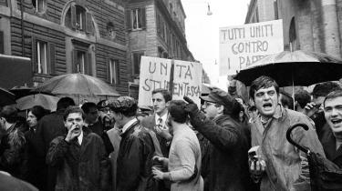 Studenteroprør i Rom, 1968, dengang Italiens intellektuelle stadig var nogen, man lyttede til.