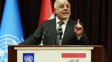 Premierminister Haider al-Abadi advarede i sidste uge mod militsernes stigende magt i landet. Her ses han under en tale i Bagdad den 6. april i år.