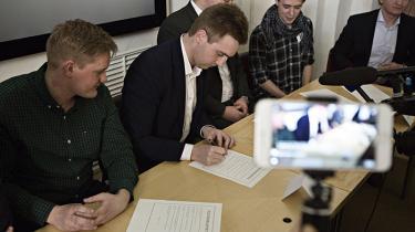 Samtlige danske ungdomspartier har mandlige ledere. Fra venstre ses Chris Holst Preuss (VU) Andreas Weidinger (KU), Lasse Quvang Rasmussen (DSU), Søren Nielsen (LAU) og Tobias Weise (DFU)