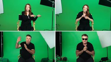 I Candice Breitz' installation 'Love Story' gengiver de to Hollywood-stjerner Alec Baldwin og Julianne Moore flygtninges beretninger i jegform.