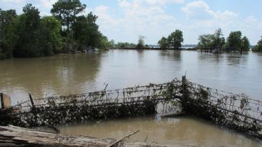 Mindst fem lossepladser med meget giftigt affald blev oversvømmet under orkanen Harvey. Her er det Highlands Acid Pit, der står under vand.