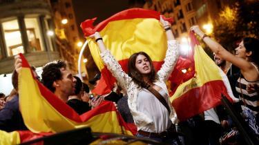 I løbet af den seneste måned er nationalistiske demonstrationer taget til i Spanien. Billedet er fra Barcelona.