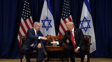 Israels premierminister Benjamin Netanyahu og præsident Donald Trump ved FN's generalforsamling 18. september 2017.