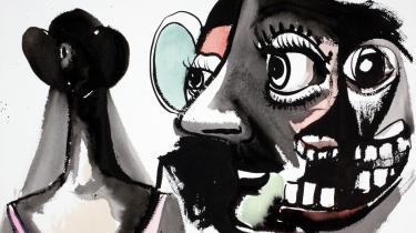 George Condo har et slægtskab med Asger Jorn, for begge kunstnere maler verdens galskab frem. Men hvor Jorns værker er knudret sammen af forskellige lag, så har mange af Condos værker langt mere til fælles med tegneseriens tydelige streg.
