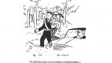 Billedtekst (til ill. fra side 18:) En betjent, der lader den yppige kvindelige passager ligge fartbøden af i skovbunden? Det er dog for galt! Tegning fra årets Hudibras – af den legendariske 89-årige Anni Lippert, der siden 1955 har tegnet frække Brigitte Bardot-lignende piger.