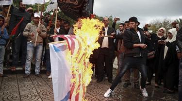 Allerede i går var der protester over Trumps bebudede anerkendelse af Jerusalem som Israels hovedstad. Her i Gazastriben.