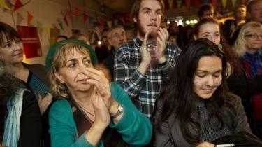 Enhedslistens valgfest, som fejrer, at danskerne stemte nej til at afskaffe retsforbeholdet ved folkeafstemning i 2015. Enhedslisten var et af de partiet, som anbefalede vælgerne at stemme nej