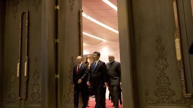 Ruslands præsident, Vladimir Putin, og KInas præsident, Xi Jinping, mødtes i september til topmødet Dialogen mellem Fremvoksende Markeds- og Udviklingslandei Xiamen i Kina.