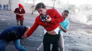 Daværende præsident Manuel 'Mel' Zelaya under en demostration mod indsættelsen af Juan Orlando Hernández som præsident.
