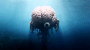 Ører og et enkelt øje er jeget i den svenske forfatter P. C. Jersilds roman og film fra 1980 'En Levende Sjæl' udstyret med. Uden den smule krop ville dens bevidsthed ikke være til.