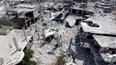 I dag er det syv år siden, Borgerkrigen i Syrien udbrød. Her ses en ødelagt bydel i Daraa i sommeren 2017.