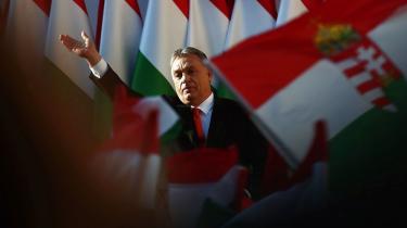 Ungarns præsident Victor Orbán under sin succesfulde valgkampagne tidligere på måneden