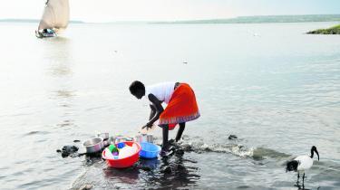 En ibis går ved siden af en pige, der er i gang med at vaske op i Victoria-søen. Det kan blandt andet ses i vandet i Kenya, at landet sidste år indførte et forbud mod plasticposer.