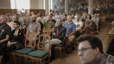 Oplæg i Folketingets fællessal på Christiansborg mandag formiddag med 'Tag ansvar – drop forbuddet mod cannabis'.