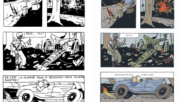 Den blege farvelægning i den nye udgave dæmper energien på siderne, der er tegnet og tænkt i sort/hvid. Digitale overgange, her i eksplosionen og flammerne, er særligt iøjnefaldende fremmedlegemer. Den danske tekstning står regelret og fryser inde i boblerne, uden originalens organiske dynamik.  Illustrationer:'Tintin i Sovjetunionen'.  Til venstre: original udgave.Til højre: ny udgave.