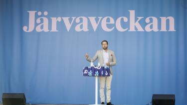 »Der skal ske noget meget dramatisk i den svenske valgkamp, hvis ikke det indvandrerkritiske Sverigedemokraterna kommer til at øge sin vælgerstøtte markant i forhold til de 12,86 procent af stemmerne, de fik i 2014.« skriverMette-Line Thorup.Her ses partiets lederJimmie Åkesson.