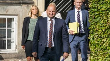 Søren Pape Poulsen (K), Peter Kofod (DF), TrineBramsen (A) ankommer til pressemøde i Justitsministeriet om en ny aftale for ungdomskriminalitet under overskriften »Alle handlinger har konsekvenser«.