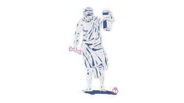Den kyniske filosof Diogenes var mest kendt for at bo i et lerkar, men han var også god til at voksenmobbe. Hans yndlingsmobbeoffer var Platon. Hermed det første af forfatter Harald Voetmanns seks portrætter af den klassiske oldtids mest irriterende mænd, der havde særlige talenter for at bringe pis i kog