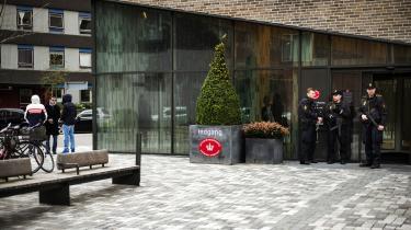 Her er det fotofra retten på Frederiksberg, hvor fire formodede Syrienkrigere blev fremstillet igrundlovsforhør i 2016.