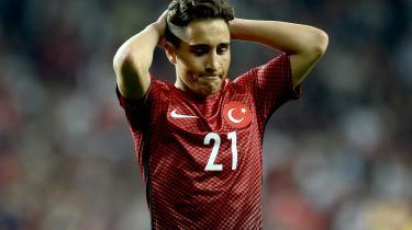 Emre Mor er født og opvokset i Danmark, men spiller for det tyrkiske landshold. Her ses hanunder en VM-kvalifikationskamp mod Ukraine i 2016.