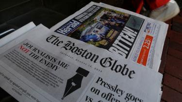 Mere end 350 amerikanske aviser har sidentorsdag skrevet ledere om Donald Trumps krig mod medierne, efter The Boston Globe opfordrede til aktion på avisens forside.