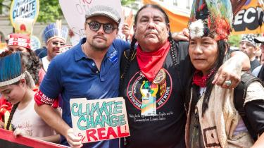 Leonardo DiCaprio ved People's Climate March i august 2017.