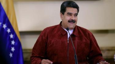 Billedet viser venezuelanske præsident Nicolas Maduro tale til et møde i Miraflores præsidentpaladset i Caracas den 22. august 2018.