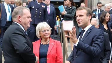 Frankrigs præsident Emmanuel Macron og statsminister Lars Løkke Rasmussen drøftede forsvarssamarbejde i Europa ved dagens pressemøde. Samarbejdet skal øges, mener de, og det er muligt på trods af det danske forsvarsforbehold.