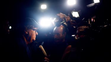 Michael Moore møder medierne på filmfestivalen i Toronto i anledning af premieren på hans nye film 'Fahrenheit 11/9'.