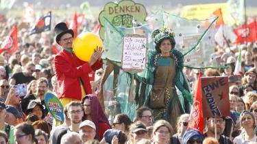 Demonstrationen Save the forest – stop coal ved Hambachskoven nær Køln i Tyskland i sidste uge.