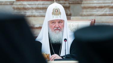 Den russisk-ortodokse kirke vilbryde med det ortodokse lederskab i Konstantinopel, derhar anerkendt en selvstændig ukrainsk-ortodoks kirke. På billedet er Kirill, Moskvas patriark ogoverhoved for den russisk-ortodokse kirke.