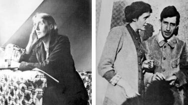 Virginia Woolf fotografetet i 1930'erne. OgVirginia og Leonard Woolf fotograferet i 1914.