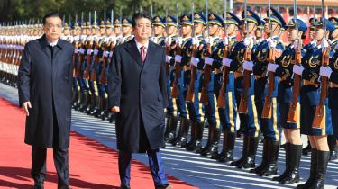 Torsdag var Japanspremierminster Shinzo Abepå officielt besøg i Kina. Det er første gang, siden Abe kom til magten.