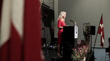 Pernille Vermund ved godt, hvad forsamlingen vil høre. De længste bifald på partiets årsmøde kommer, hver gang hun kredser om muslimsk indvandring.
