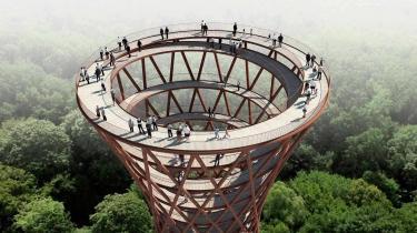 Det nye udsigtstårn i Camp Adventure ved Haslev på Sydsjælland er bygget færdigt i slutningen af året.