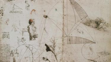 Over 7.200 blade med notater fra Leonardos hånd er overleveret. Her et ark fra cirka 1490.