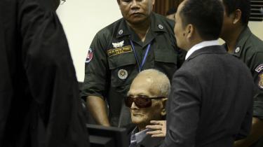Den tidligere Khmer-leder 'Broder nummer to' Nuon Chea fotograferet i retsbygningen i går. Den 92-årige chefideolog bag De Røde Khmerer er et af ansigterne på et af verdenshistoriens mest brutale regimer.