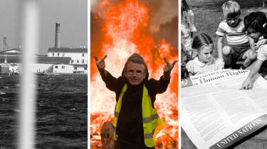Radio Information kommer i denne uge omkring øen Lindholm, symbolpolitikken omkring samme, FN's nu 70 år gamle menneskerettighedserklæring og De Gule Veste i Frankrig. Foto: Søren Steffen, Mehdi Chebil, FN