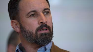 Lederen af det højrenational parti VOX i Spanien,Santiago Abascal, der nu vinder fremblandt de spanske vælgere.