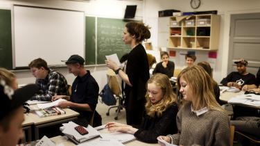 Her et billede fra undervisningen i9.klasse på Ingrid Jespersens Gymnasieskole. Helt nyeforskningsrapporter om effekterne af folkeskolereformen peger på, at den danske folkeskole er på vej i den forkerte retning.