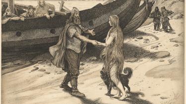 Mødet mellem sagnhelten Ragnar Lodbrog og Kraka alias Asløg Sigurdsdatter. Tegning af Louis Moe (1857-1945).